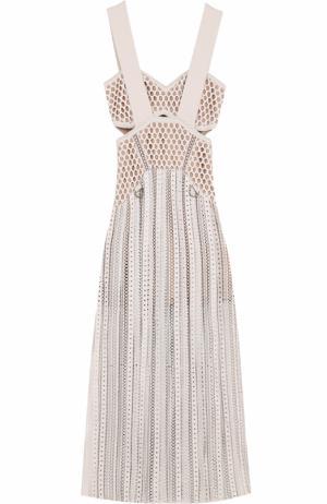 Приталенное кружевное платье-миди self-portrait. Цвет: бежевый