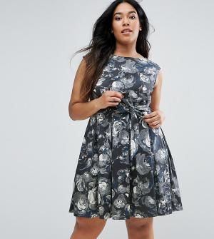 Closet London Plus Приталенное платье с цветочным принтом. Цвет: мульти