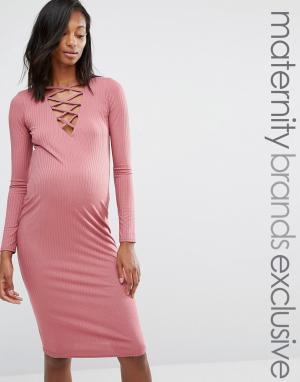 Missguided Maternity Платье миди в рубчик со шнуровкой для беременных. Цвет: фиолетовый
