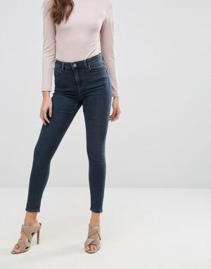 ASOS Темно-синие выбеленные зауженные джинсы с завышенной талией RIDLE. Цвет: синий