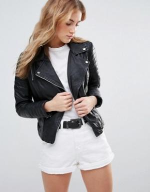 Muubaa Приталенная кожаная куртка. Цвет: черный