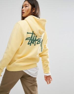 Stussy Худи с карманом и принтом на спине. Цвет: желтый