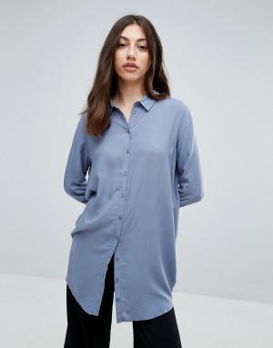 Pieces Длинная свободная рубашка. Цвет: синий