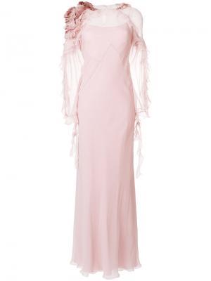 Вечернее платье с оборками и длинными рукавами Alberta Ferretti. Цвет: розовый и фиолетовый