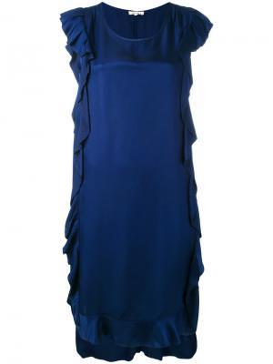 Платье без рукавов с отделкой оборками Bellerose. Цвет: синий