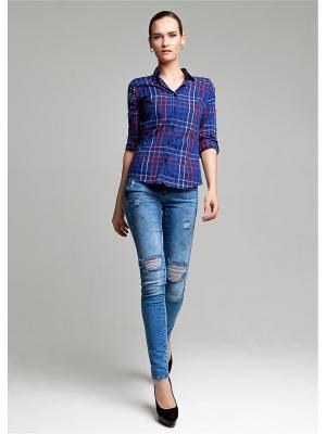 Блуза MOSKO. Цвет: темно-синий,красный,белый