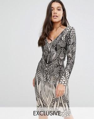 Club L Платье миди с отделкой пайетками. Цвет: черный