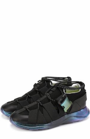 Комбинированные кроссовки с эластичными ремешками на шнуровке Christopher Kane. Цвет: черный