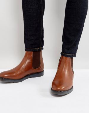 ASOS Светло-коричневые кожаные ботинки челси на толстой подошве. Цвет: рыжий