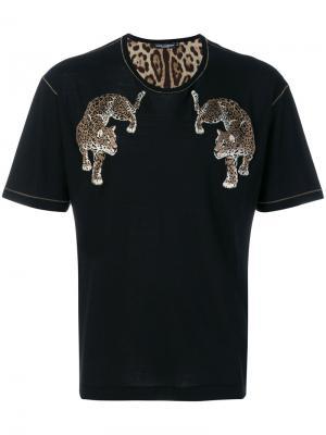 Футболка с заплатками в виде леопарда Dolce & Gabbana. Цвет: чёрный