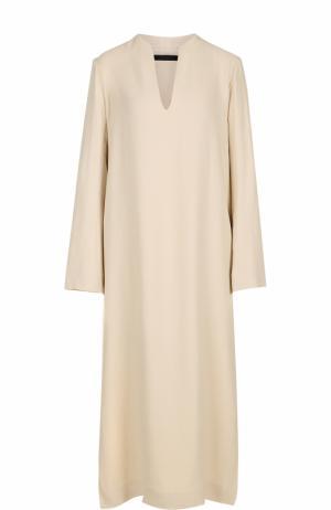 Платье с разрезами и V-образным вырезом The Row. Цвет: бежевый