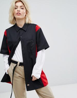 Dickies Рабочая рубашка в стиле ретро колор блок. Цвет: черный