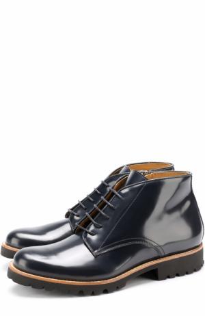 Кожаные ботинки на шнуровке и молнии Gallucci. Цвет: синий
