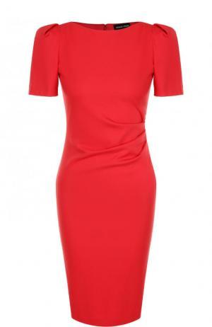 Приталенное платье-миди с рукавом-фонарик и драпировкой Giorgio Armani. Цвет: красный