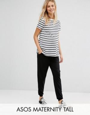 ASOS Maternity Трикотажные брюки-галифе с поясом на шнурке TALL. Цвет: черный