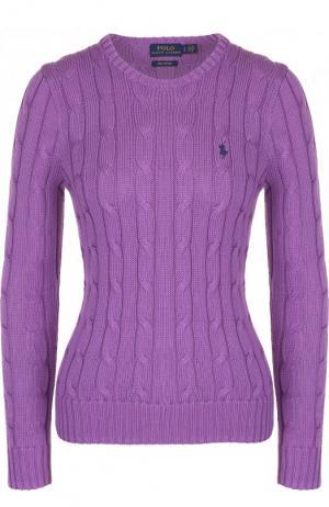 Пуловер фактурной вязки с логотипом бренда Polo Ralph Lauren. Цвет: фиолетовый