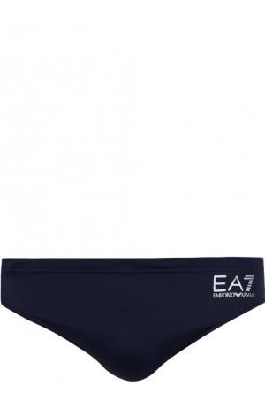 Плавки с логотипом бренда Emporio Armani. Цвет: темно-синий