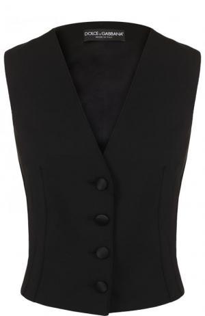 Однотонный приталенный жилет с шелковый спинкой Dolce & Gabbana. Цвет: черный