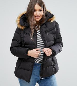 Koko Дутая куртка с воротником из искусственного меха и поясом Plus. Цвет: черный