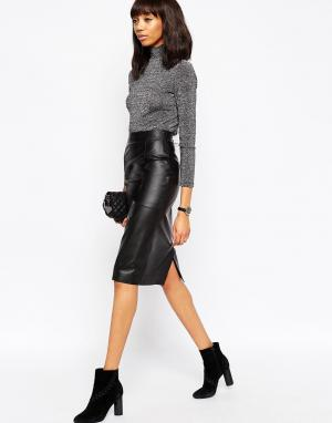 ASOS Кожаная юбка-карандаш мини DESIGN. Цвет: черный