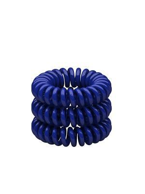 Резинка-спиралька для волос темно-синяя, 3 шт. Beauty Bar. Цвет: темно-синий
