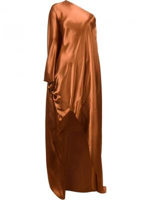 Платье на одно плечо Rosetta Getty. Цвет: жёлтый и оранжевый