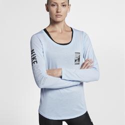 Женская теннисная футболка с длинным рукавом Court Dry Nike. Цвет: синий