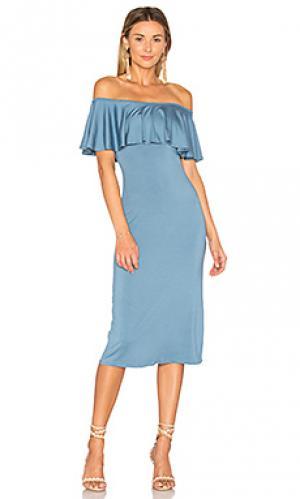 Миди платье с рюшами Rachel Pally. Цвет: синий