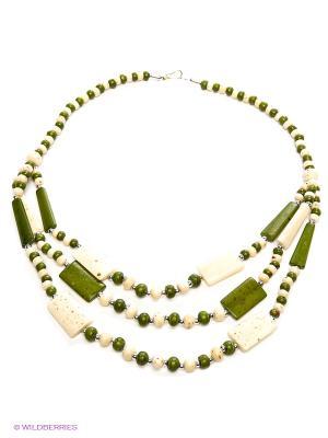 Ожерелье ГАНГ. Цвет: зеленый, молочный