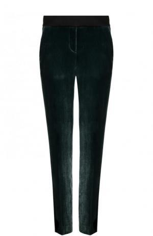 Однотонные бархатные брюки прямого кроя BOSS. Цвет: зеленый