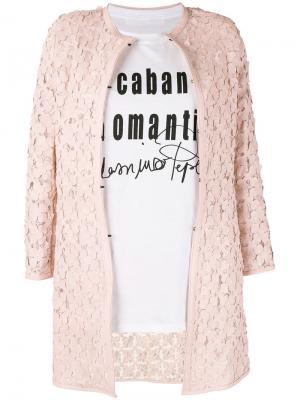 Пальто с аппликациями в виде цветов Caban Romantic. Цвет: розовый и фиолетовый