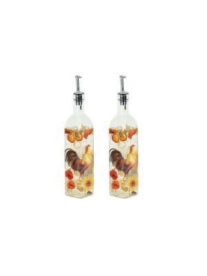 Набор для специй Петух и солнце (2 бутылки масла уксуса по 500 мл) Elff Ceramics. Цвет: серебристый, оранжевый
