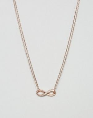 Pilgrim Ожерелье цвета розового золота с подвеской в виде знака бесконечности. Цвет: золотой