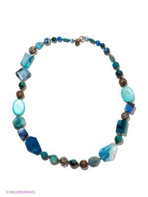 Колье Роман с камнем. Цвет: синий, зеленый, голубой
