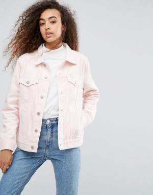 Weekday Джинсовая куртка Single Girlfriend. Цвет: розовый