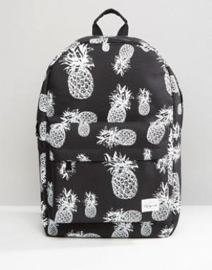 Spiral Рюкзак с принтом ананасов. Цвет: черный