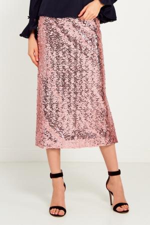 Розовая юбка с пайетками Girls In Bloom. Цвет: розовый