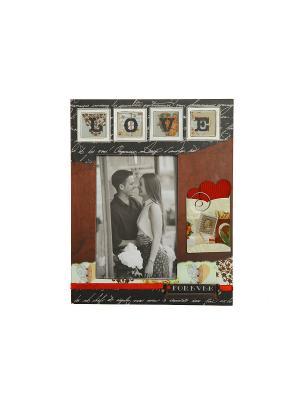 Фоторамка декорированная HomeMaster. Цвет: черный, бордовый, белый