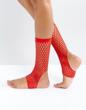 ASOS Красные сетчатые носки. Цвет: красный