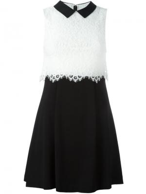 Платье мини в стиле колор-блок Alice+Olivia. Цвет: чёрный