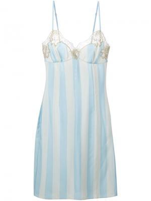 Кружевное платье в полоску Rosamosario. Цвет: синий