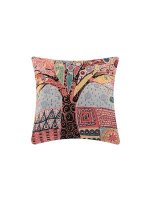 Подушка декоративная Дерево EL CASA. Цвет: серый, розовый, черный