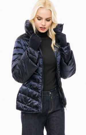 Синяя стеганая куртка с перчатками Trussardi Jeans. Цвет: синий