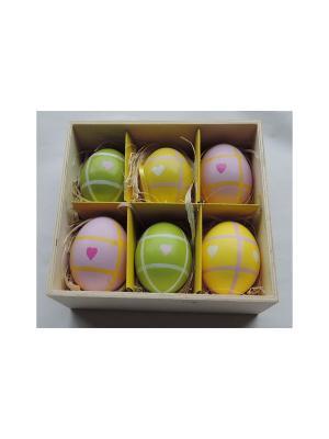 Декоративное подвесное пасхальное яйцо ЦВЕТНЫЕ СЕРДЦА Magic Home. Цвет: белый