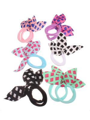 Резинки с ушками в ромбик, 6 цветов по 2 Радужки. Цвет: черный, зеленый, розовый