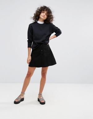Waven Джинсовая юбка-трапеция. Цвет: черный