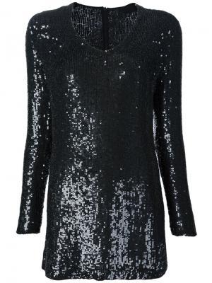 Платье с длинными рукавами и пайетками Beau Souci. Цвет: чёрный