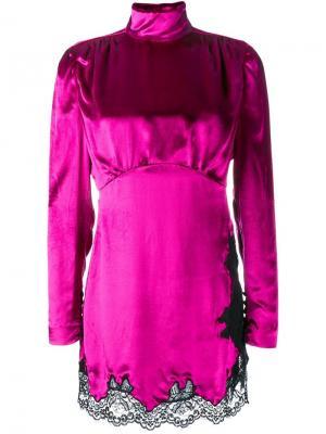 Платье-водолазка Alessandra Rich. Цвет: розовый и фиолетовый