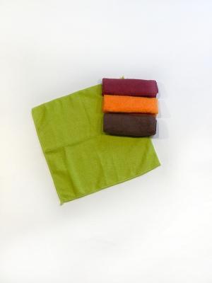 Набор полотенец 4 предмета из микрофибры 30х30. La Pastel. Цвет: темно-бордовый, салатовый, бордовый, коричневый, оранжевый