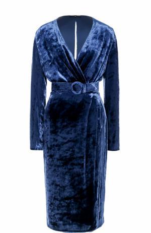 Бархатное платье-миди с поясом Alexander Terekhov. Цвет: темно-синий